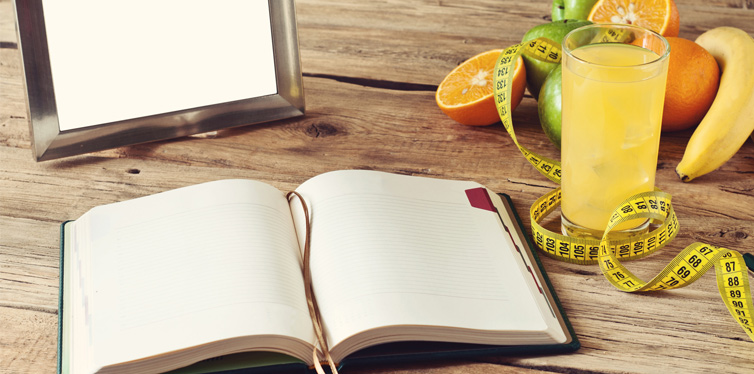 notebook and food