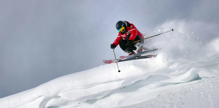 skiier on a snowy mountain