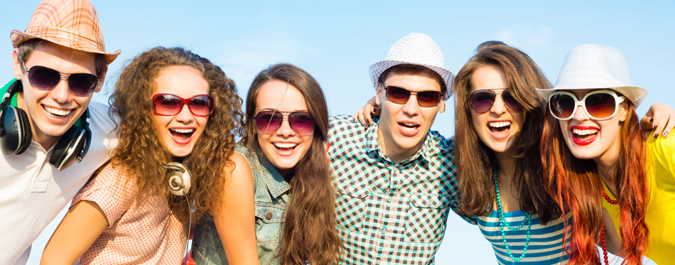young people wearing flip up sunglesses