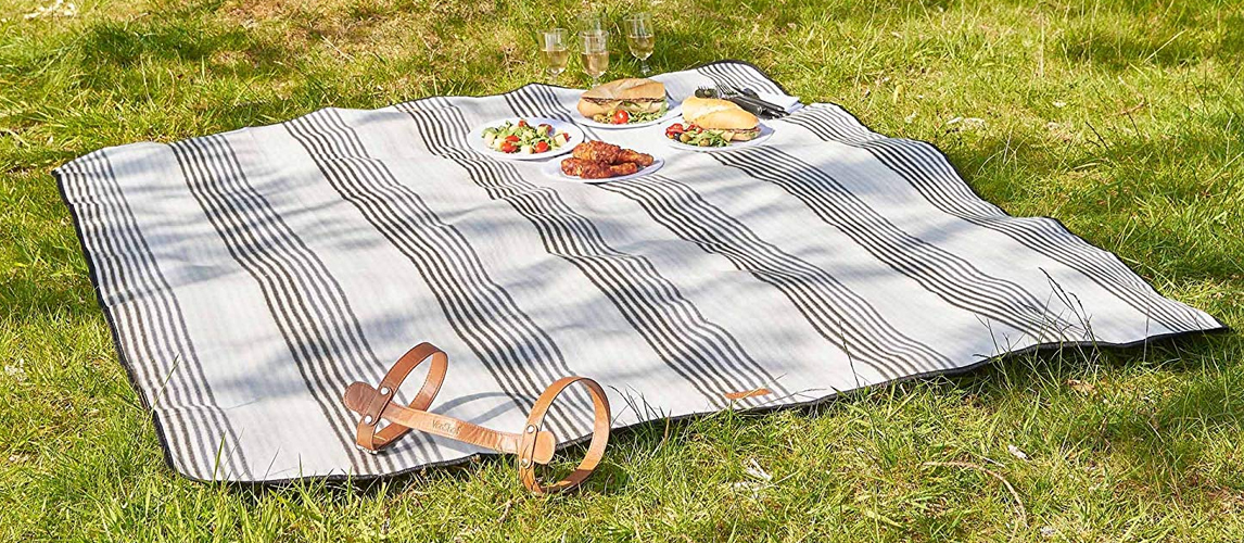 Foldable Lightweight Grid Design with Velcro for Spring Summer Travel LPZF Outdoor Picnic Blanket Waterproof PVC Backing