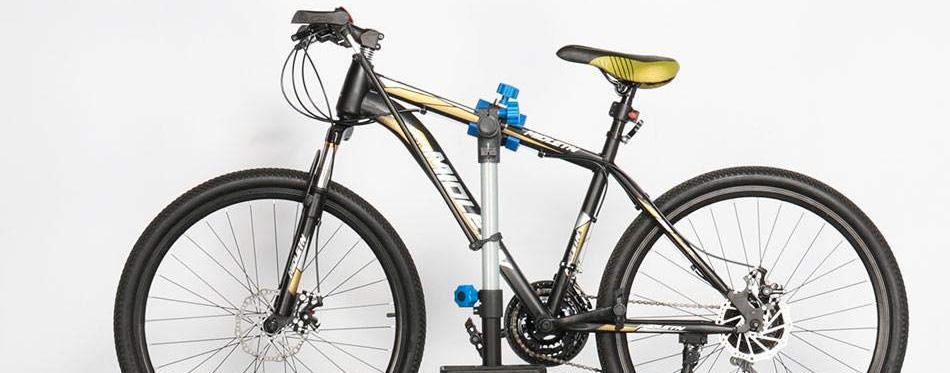 a bike on a repair stand