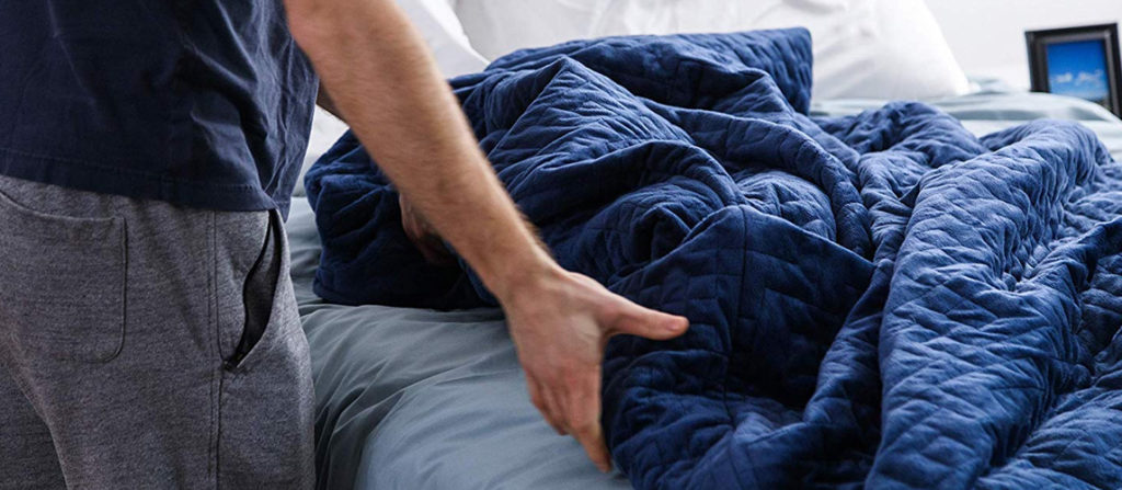 a blue weighted blanket