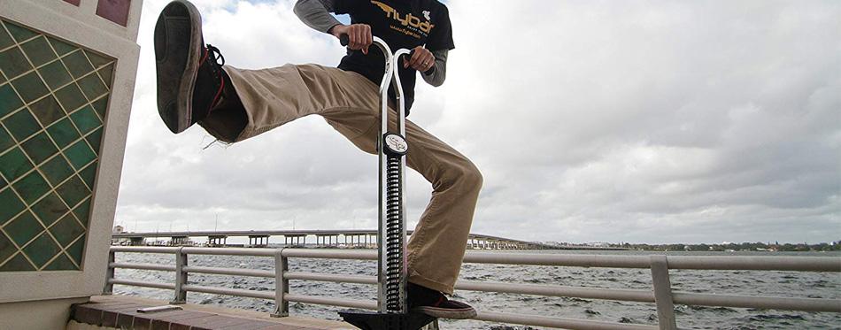 a man on a pogo stick