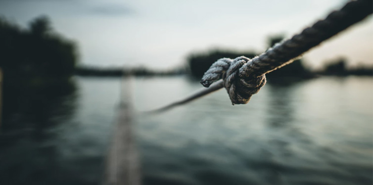 knot on a gray rope