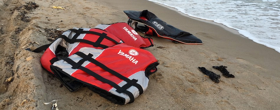life vests at the beach