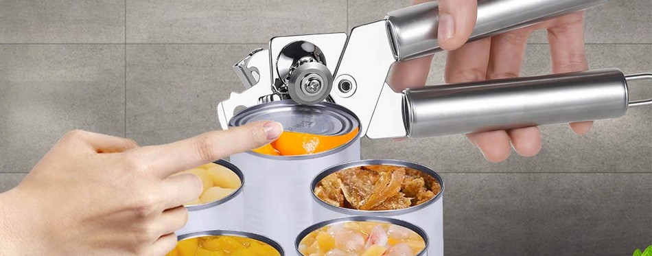 man using a can opener