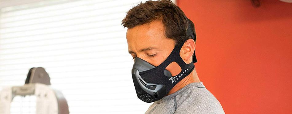 man wearing a training mask