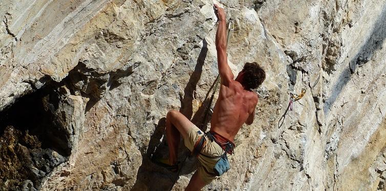 mountain climber on a rock