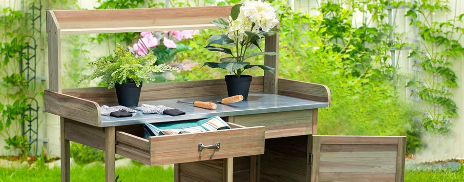 potting bench in the garden