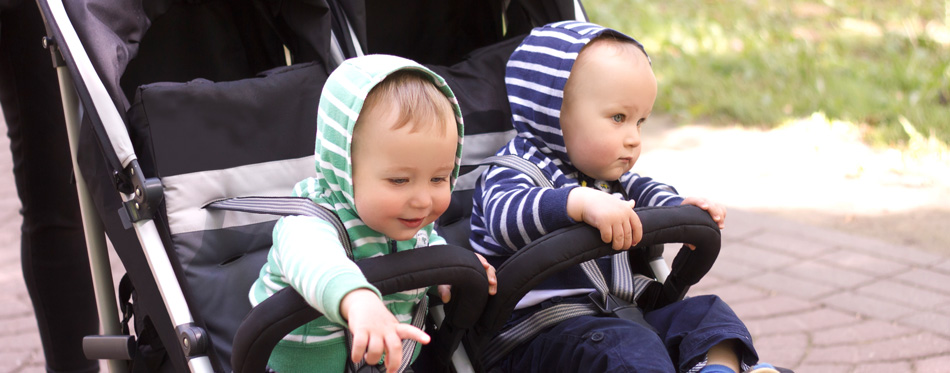 two babies in a stroller