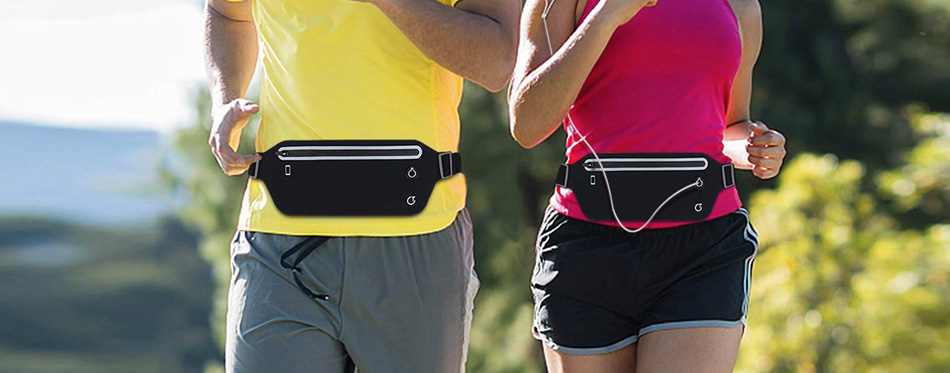 two runners with running belts