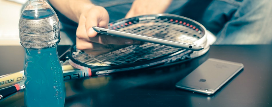 a squash racket on the table