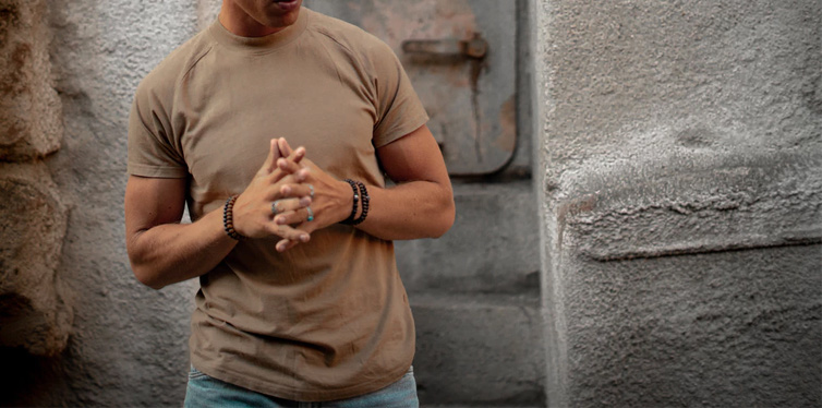 man in brown t-shirt