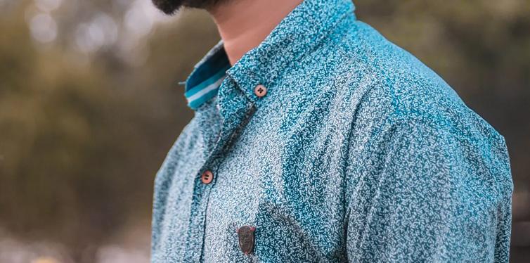 man wearing blue shirt