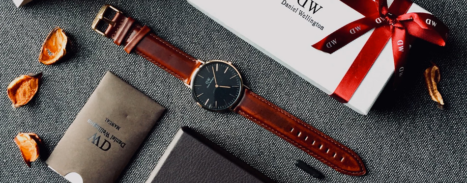 a watch with leather straps