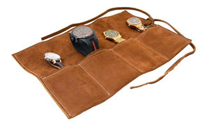 hide & drink soft leather travel watch roll organizer