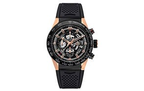 mens' tag heuer carrera calibre rose gold watch