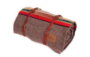 Pendleton Twin Wool Camping Blanket With Leather Carrier