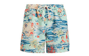 polo ralph lauren mens printed swimming trunk with strings