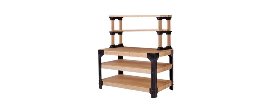 2x4basics custom workbench and shelving storage system
