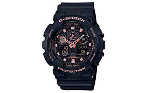 casio g-shock black analog-digital rose gold watch
