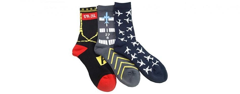 3-pairs of aviation-themed premium crew socks