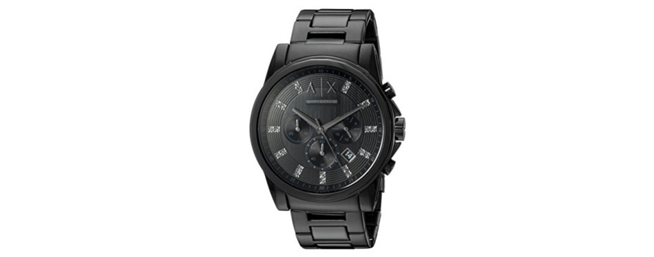 A|X Black and Glitz Stainless Steel Watch