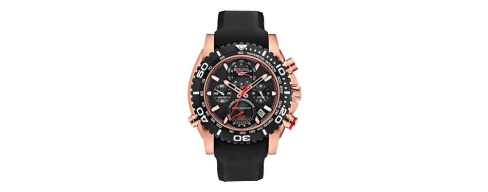 Bulova Men's Precisionist Analog Chronograph Rose Gold Watch