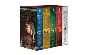 a boxed set of the 1st five novels series from george r.r martin