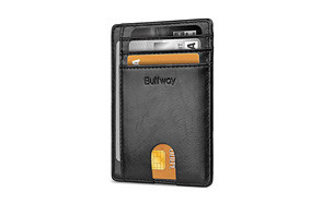 buffway slim minimalist front pocket rfid blocking leather wallet