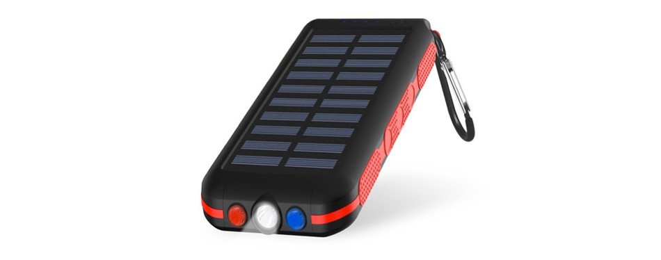 CXLLY Portable Solar Power Bank w/ Flashlight