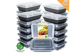 Enther Bento Style 20 Pack Meal Containers