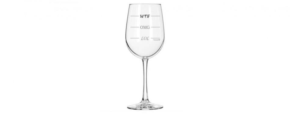 Fineware LOL-OMG-WTF Funny Wine Glass