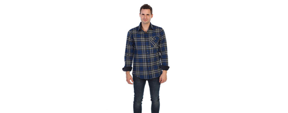 Gioberti Men's Long Sleeve Flannel Shirt with Corduroy Contrast