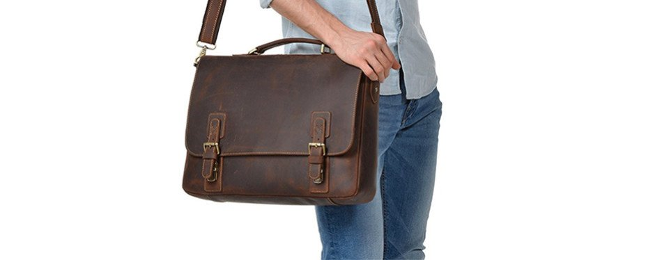 Kattee Men's Leather Briefcase For Men