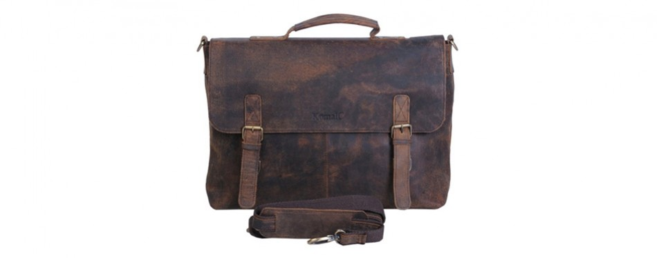 KomalC Retro Leather Laptop Bag