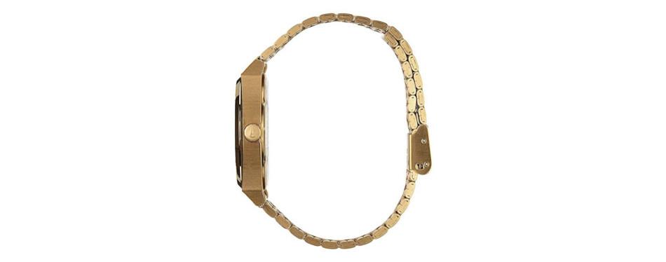 Men's Nixon Time Teller A045. 100m Water Resistant Gold Watch