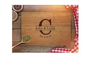 customized engraved couples chopping board