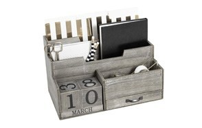 dark wooden mail organizer desktop