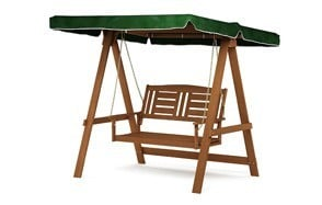 furinno tioman hardwood 2 person patio swing with canopy