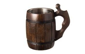 handmade beer mug oak wood stainless steel cup