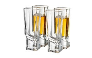 joyjolt carre shot glasses square heavy base shot glass