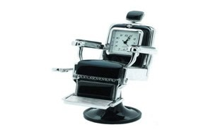 sanis enterprise's silver barber chair desk clock