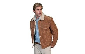 scully mens sherpa lined suede jacket