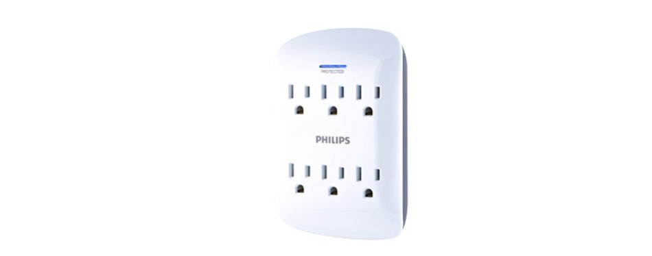 philips 6 outlet surge protector outlet adapter