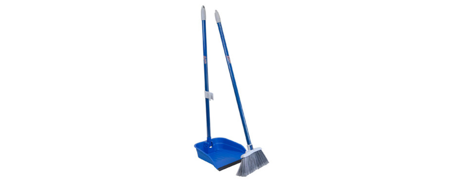 Quickie Stand and Store Lobby Broom and Dustpan Set