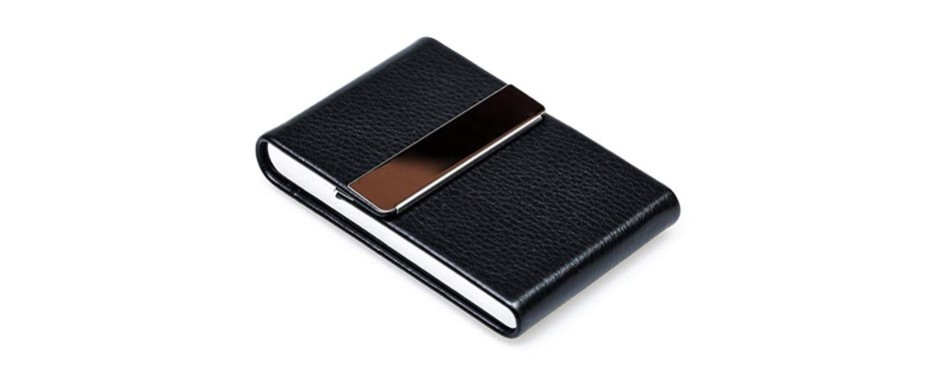RFID Blocking Card Holder - Leather Card Case with Magnetic Shut