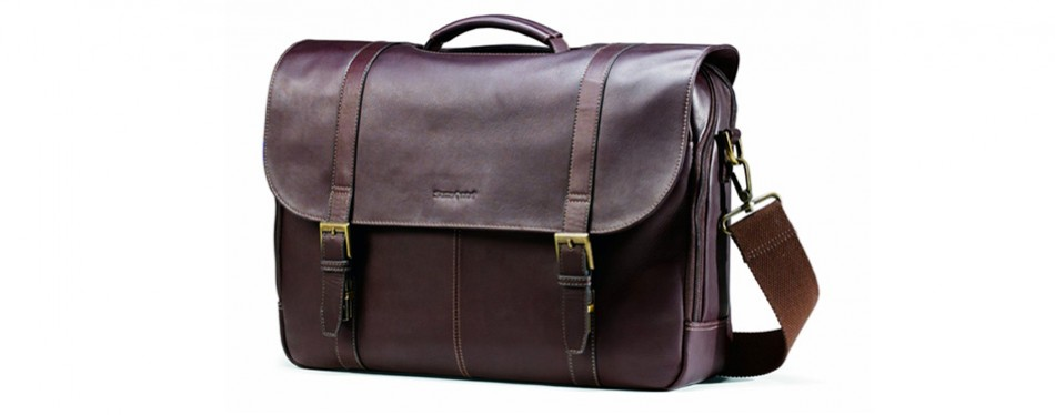 Samsonite Colombian Leather Flap-Over Laptop Messenger Bag