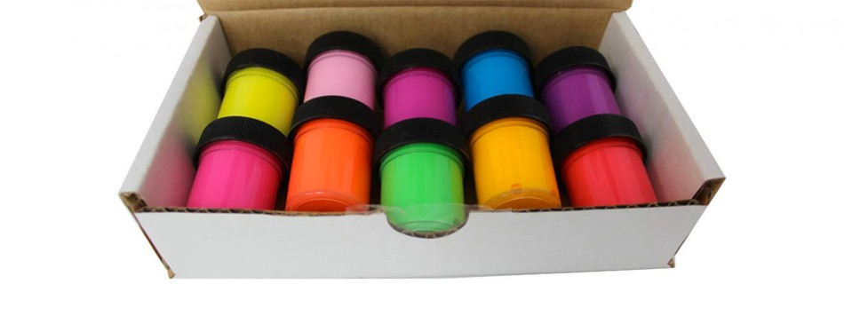 Set Of 10 Neon Rave Glow In The Dark Paint