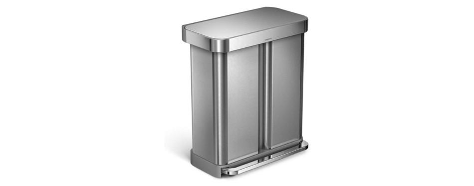 Simplehuman 15.3 Gallon Stainless Steel Rectangular Kitchen Step Can